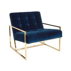 By Jonathan Adler Pared down geometry in polished brass meets swanky navy velvet in our Goldfinger Collection. A little bit '70s, a lot today. Goldfinger is the winning ticket that adds Modernist rigo #VelvetChair