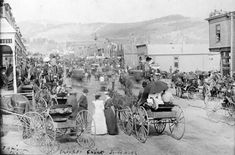 People throng Bennett Avenue during a Fourth of July Celebration in Cripple Creek in 1898.