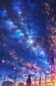 Under night sky Anime Backgrounds Wallpapers, Anime Scenery Wallpaper, Aesthetic Pastel Wallpaper, Animes Wallpapers, Galaxy Wallpaper, Anime Artwork, Aesthetic Wallpapers, Wallpaper Wallpapers, Sky Anime