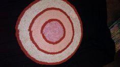 orange crochet round rug
