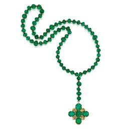 Rosary featuring 70 emerald beads, diamonds and enamel, belonging to Queen Maria Antoinette of Saxony (1805-1877). Sold by Sotheby's New York, December 5 2012.