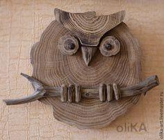 """Животные ручной работы. Ярмарка Мастеров - ручная работа. Купить Панно """"Сова круглая"""". Handmade. Коричневый, панно из дерева"""