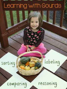 Learning with Gourds: Comparing, Sorting, and Labeling for Fall #playfulpreschool #math #writing #science #sensory
