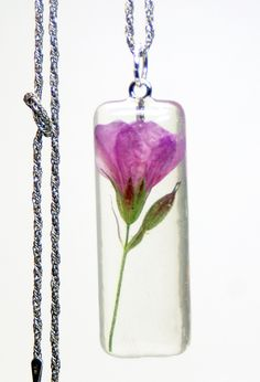 Flower Pendant- Pink Pendant-Real Flower Jewelry- Jewelry Made with Real Flowers- Pink flower- Resin Jewelry. via Etsy.