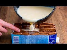 Potřebujete jedno mléko a dort je hotový. Pouze 5 ingrediencí !!!| Cookrate - Czech - YouTube Apple Desserts, No Cook Desserts, Biscuits Au Cacao, Kakao, Cupcakes, Glass Of Milk, Cake Pops, Tiramisu, Waffles