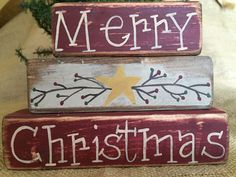 Primitive Pip and Star Merry Christmas Holiday 3pc Shelf Sitter Wood Block Set #PrimtiveCountry