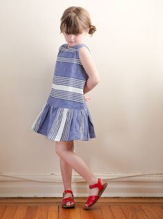 Stripes - like the idea of the skirt stripes being a different angle to the bodice Sewing Kids Clothes, Cheap Kids Clothes, Kids Clothing, Clothing Stores, Little Girl Fashion, Toddler Fashion, Kids Fashion, Cute Outfits For Kids, Dope Outfits