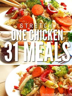 How many meals can you get out of one chicken? Learn how to stretch one chicken into 31 servings for about $1 each, including the cost of organic chicken!