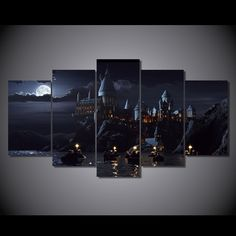 Style Your Home Today With This Amazing 5 Panel Harry Potter School Castle Framed Wall Canvas Art For $99.00  Discover more canvas selection here http://www.octotreasures.com  If you want to create a customized canvas by printing your own pictures or photos, please contact us.