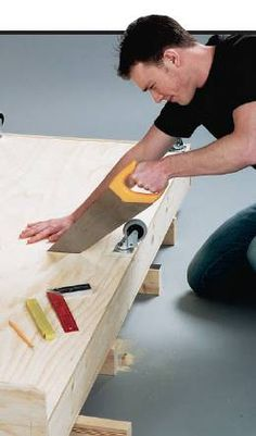 Sawing coffee table bed carcass in half