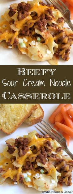 Beefy Sour Cream Noodle Casserole | Who Needs A Cape?  We had this for dinner the other night and it was yummy. I used about 2lbs of ground beef and doubled the tomato sauce.