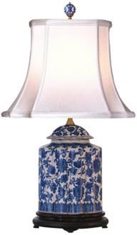 If you're looking for just a touch of blue and white in a room, a lamp may be the way to go. Consider this blue and white floral scalloped porcelain tea jar table lamp. Chinoiserie, Traditional Table Lamps, Tea Jar, Painting Lamps, China Painting, Brass Lamp, Ginger Jars, White Decor, White Lamps