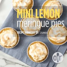 Mini Lemon Meringue Pies - - Simple, fun, mini lemon meringue pie recipe from scratch that tastes fresh and is great when you want to serve several different mini desserts together. Bite Size Desserts, Köstliche Desserts, Lemon Desserts, Dessert Recipes, Lemon Pie Recipe, Lemon Recipes, Baking Recipes, Lemon Meringue Recipe, Mini Lemon Meringue Pies