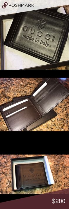 """Gucci """"Made In Italy"""" Embossed Wallet Used for a few nights. 100% Authenticity Guaranteed Brand new with Tags Style# : 231844  Material: Leather Water and stain resistant, textured leather in Brown Matching stitching Gucci name and logo on the front of the wallet Bi-fold wallet Sixcard slots Two bill compartments Two hidden inserts Approx Measurements :4""""L x 4""""H x 1""""W Made in Italy Model: Gucci Bi-Fold 231844 Gucci Accessories Key & Card Holders"""