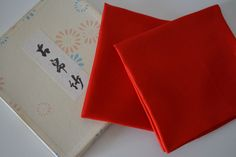 Fukusa silk cloths for tea ceremony, pair, red silk by StyledinJapan on Etsy