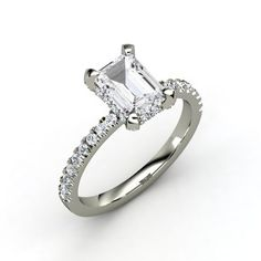 Emerald-Cut White Sapphire 14K White Gold Ring with Diamond | Reese Ring