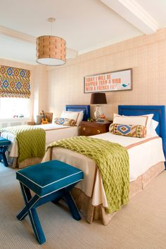 MMR Interiors: Fun kids' room with cobalt blue twin headboards - I really love the sayings above the beds!