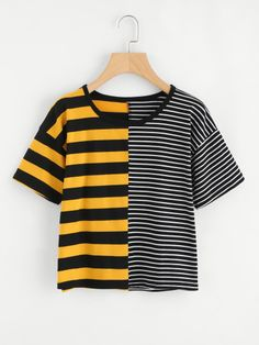 Best Seller ROMWE Contrast Striped Tee Shirt 2018 Summer Round Neck Short Sleeve Casual Female Top Multicolor Stretchy Crop T Shirt Hipster Outfits, Fashion Outfits, Fast Fashion, Fashion Styles, Fashion Fashion, Fashion Ideas, Vintage Fashion, Make Me Chic, Böhmisches Outfit