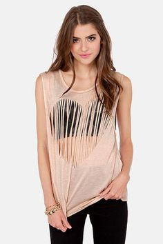 Fits Like a Love Blush Fringe Muscle Tee Lulu's Pastel Grunge Pastel Goth Heart Distressed T-shirt Sleeveless Pale Pink Cream Coral Do It Yourself Mode, Fringe Shirt, Heart Shirt, Cut Shirts, Ripped Shirts, T Shirt Diy, Diy Clothing, Muscle Tees, Swagg