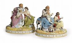 A PAIR OF LARGE MEISSEN FIGURE GROUPS, 'AMORS FESSELUNG' AND