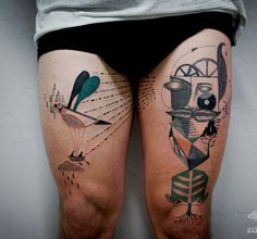 Abstract surreal style tattoo on thighs - If you want to make them stop at their steps, then you can have this surreal abstract thigh tattoos. Nothing beats abstract tattoos that are bizarrely beautiful; whether or not you actually designed it to have some kind of meaning.