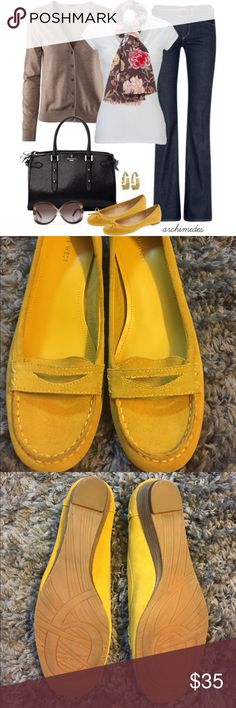 Yellow Loafers! Cute 1' suede loafers. Super fun color! EUC! TTS more of a mustard yellow- great for fall. ✨profile pic is style inspiration only✨ Nine West Shoes Flats & Loafers