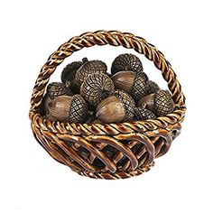 "Ganz Thanksgiving Fall Oak Tree Nut 1.5"" Acorn Figurine 5 Piece- Set"