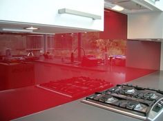 Another Lushish Red Glass Splashback Bathroom Paneling, Red Glass, Glass Design, Home Kitchens, Glass Splashbacks, Home Decor, Cooking, Homemade Home Decor, Decoration Home