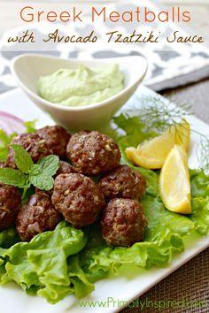 Greek Meatballs with Avocado Tzatziki Sauce from Primally Inspired #paleo #glutenfree