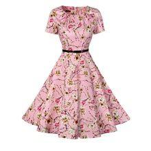 O pescoço da cópia floral das mulheres do vintage cinto túnica evening partido balanço dress audrey hepburn retro casuais 50 s algodão vestidos vestidos(China (Mainland))