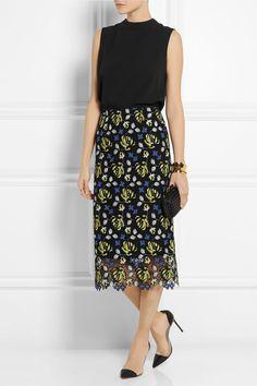 Erdem|Safia crocheted lace midi skirt|NET-A-PORTER.COM