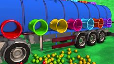 Learn Colors With Oil Tank Colored Balls dropping Educational Kid Video   Learning Vehicles for kids