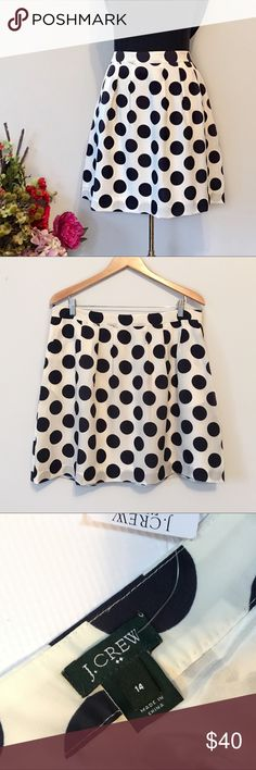 """J. Crew Skirt Absolutely gorgeous, 100% Polyester, fully lined skirt, side zip with hook and eye closure. Off white with navy polka dots. Brand new with tags.  Pet free/Smoke free.   Measurements laying flat: Waist 18""""  Length 19.25""""  G-GL J. Crew Skirts"""