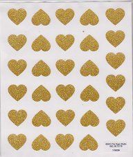 Glitter Gold Heart Stickers - 2 Sheets Stickers Paper Studio…