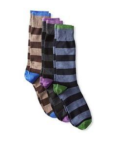 Florsheim Men's Rugby Stripe Socks (3 Pair) (Navy/Brown/Charcoal)
