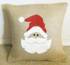I love burlap pillows...especially ones with Santa on them