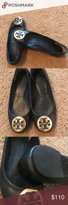 e7f634af41c7 Size Used but still have a lot of wear left in the them. Black with gold  logo Tory Burch Shoes Flats   Loafers