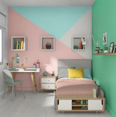 Painting bedroom girl boy teenager baby what color Bedroom Wall Designs, Room Design Bedroom, Room Ideas Bedroom, Home Room Design, Small Room Bedroom, Girls Bedroom, Bedroom Decor, Pink Teen Bedrooms, Bed Room
