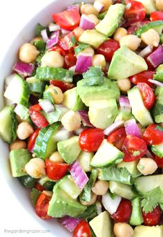 EASY and AMAZING!!! 7-ingredient Avocado Salad with tomatoes, cucumber, cilantro, and a protein boost! (vegan, gluten-free)