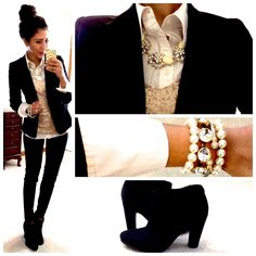 Gold sequin tank. White button down jacket. Black skinny jeans. Booties. Statement necklace. Pearl bracelet