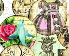 digital collage sheet / printable download / 1 inch vintage circles by LandofEnchantment, $3.98