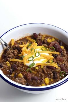 Taco Soup Recipe – So quick and easy, this taco soup recipe is flavorful and delicious! Made with ground beef, beans, corn, it is on the table in less than 30 minutes! I could eat this taco soup every single day and not complain one bit. Packed with so much flavor, it is everything I...