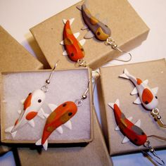 Koi Fish EarringsYou Pick by SweetAppleTea on Etsy Polymer Clay Fish, Polymer Clay Animals, Fimo Clay, Polymer Clay Projects, Polymer Clay Charms, Polymer Clay Creations, Polymer Clay Jewelry, Clay Crafts, Biscuit
