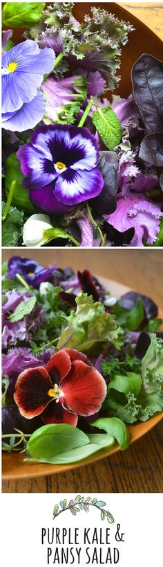 Beautiful edible pansies and healthy kale make a salad fit for any occasion - think Mother's Day, Easter, or bridal showers!