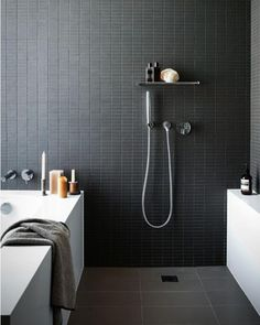 All black bathrooms are the best bathrooms design inspo via style-files.com