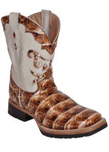 Croc Print Square Toe Boots