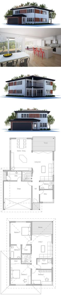 Modern House Plan with large covered terrace and balcony. Big windows and abundance of natural light. Floor Plan.