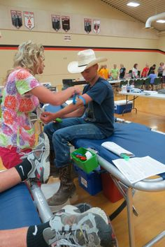 Caleb Dalton Jenkinson keeps his cowboy hat on for as long as he can while getting ready to donate. Caleb is a senior at Mississinawa Valley. — with caleb dalton jenkinson at Ansonia High School (Ansonia, Ohio).