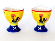 2 Vintage Style Glazed Ceramic Barcelos Rooster EGG CUPS Handpainted Pottery | eBay
