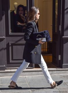 Gucci Kangaroo-Fur-Lined Slippers #streetstyle #Paris #pfw by peopleandstyles.com